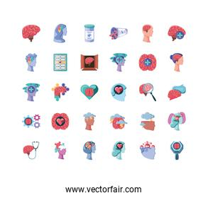 set of icons mental health on white background