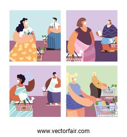 poster with people in shopping of supermarket, social distancing by coronavirus
