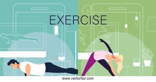 poster with couple people out doing exercises at home