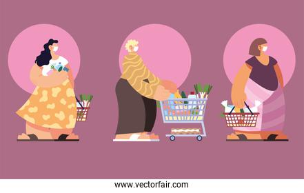 people in shopping of supermarket, social distancing by coronavirus