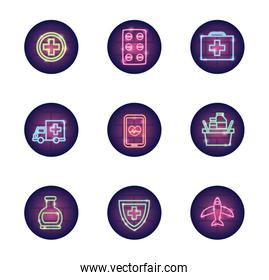 medical crosses and covid 19 icon set, neon style