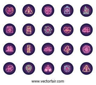 test tubes and covid 19 icon set, neon style