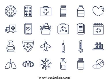 medical equipment and covid 19 icon set, line style