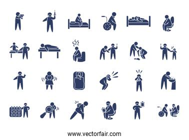 health pictogram persons icon set, line style