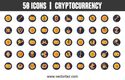 cryptocoins and cryptocurrency icon set, block detailed style