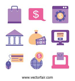 money and mobile banking icon set, flat style