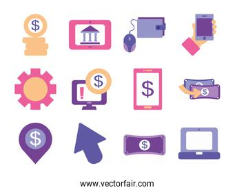money coins and mobile banking icon set, flat style