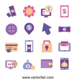 global sphere and mobile banking icon set, flat style