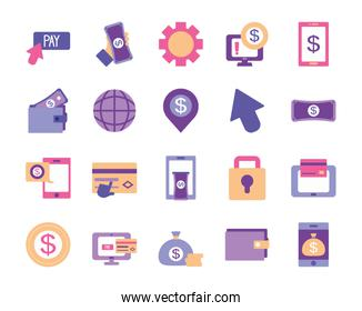 smartphones and mobile banking icon set, flat style
