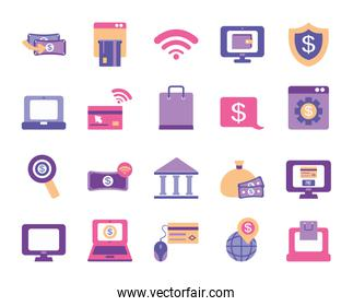 computers and mobile banking icon set, flat style