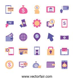 money bags and mobile banking icon set, flat style