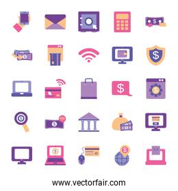 online and mobile banking icon set, flat style