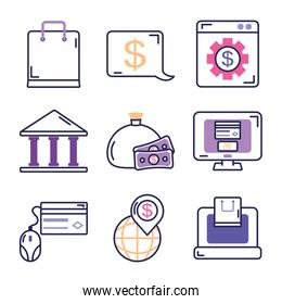 money and mobile banking icon set, line color style