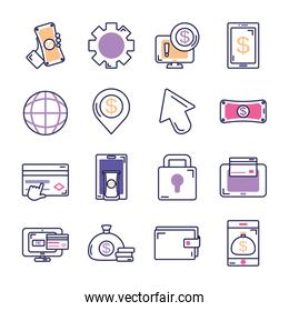 global sphere and mobile banking icon set, line color style