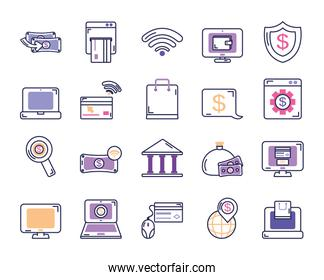 computers and mobile banking icon set, line color style
