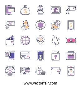 money bags and mobile banking icon set, line color style