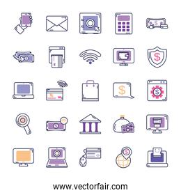 online and mobile banking icon set, line color style