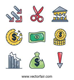 money and financial broke icon set, line color style