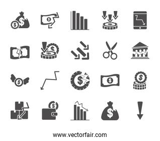 financial arrows and economic recession icon set, silhouette style