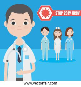 cartoon doctor man and group of medical doctors staff, colorful design