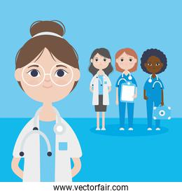 cartoon doctor woman and group of medical doctors women staff, colorful design