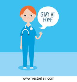 cartoon doctor man with speech bubble with stay home concept, colorful design