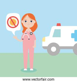 cartoon cute doctor woman and ambulance, colorful design