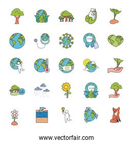 trees and nature icon set, fill style