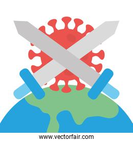 stop covid 19 concept, earth planet and coronavirus with crossed swords