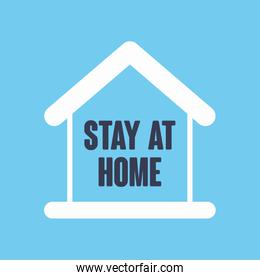 stay homeconcept, house shape over blue background