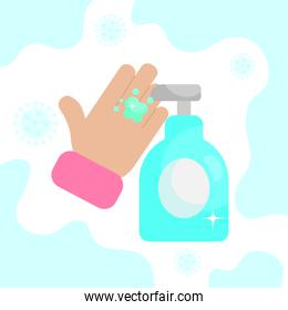 hand with antibacterial gel bottle icon, colorful design