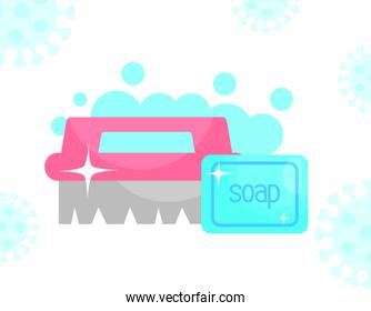 cleaning brush and soap bar, colorful design