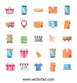 gift boxes and shopping online icon set, detailed style