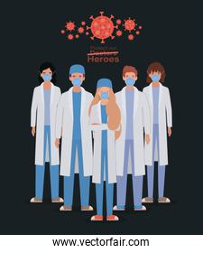 Women and men doctors heroes with uniforms and masks against 2019 ncov virus vector design