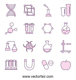 Science line style icon set vector design