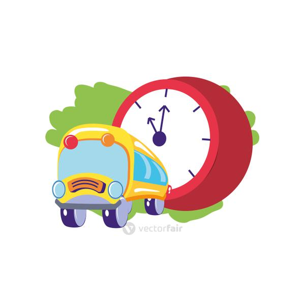 bus school transportation with clock time