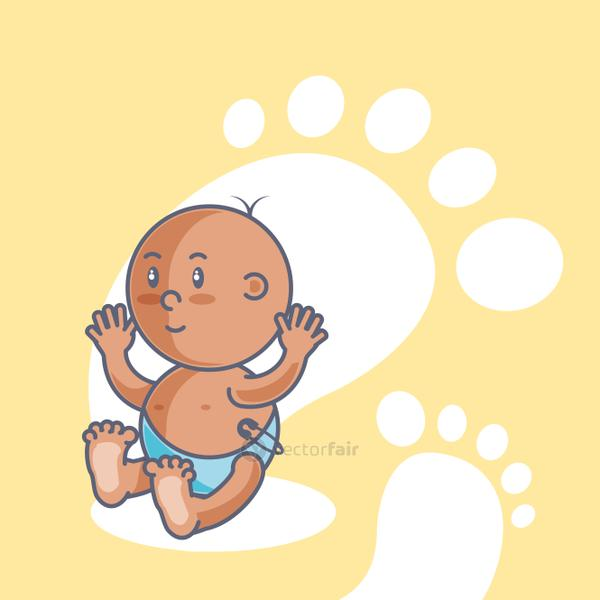 cute baby boy with footprints decoration
