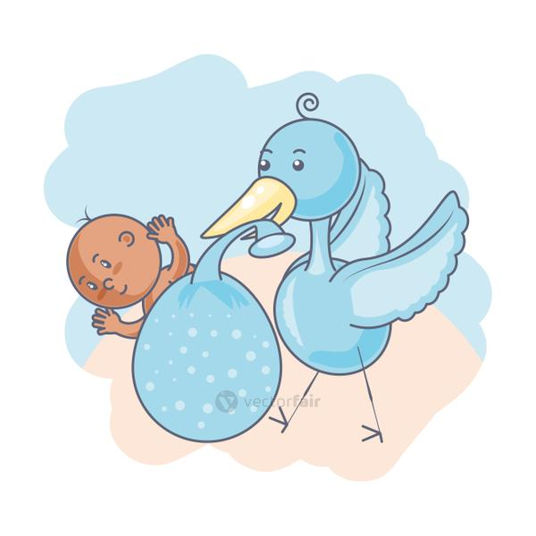 stork with cute baby boy avatar character
