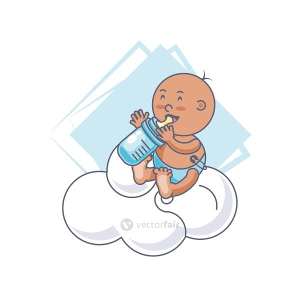 cute baby boy with bottle milk and cloud