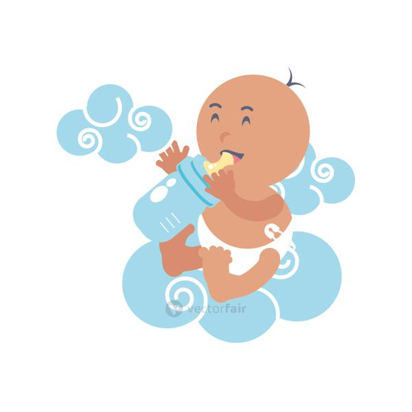 cute baby boy with bottle milk and clouds