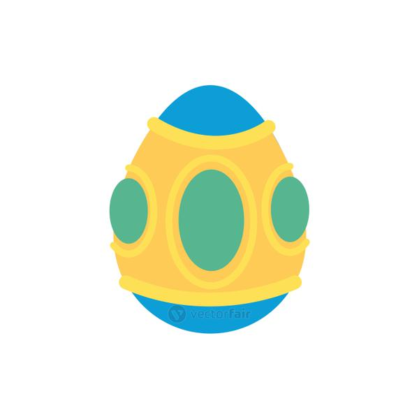 easter egg painted with balls flat style