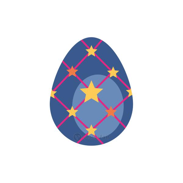 easter egg painted with stars flat style
