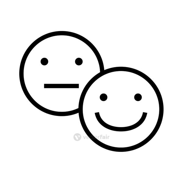 sad and happy emoticons faces line style