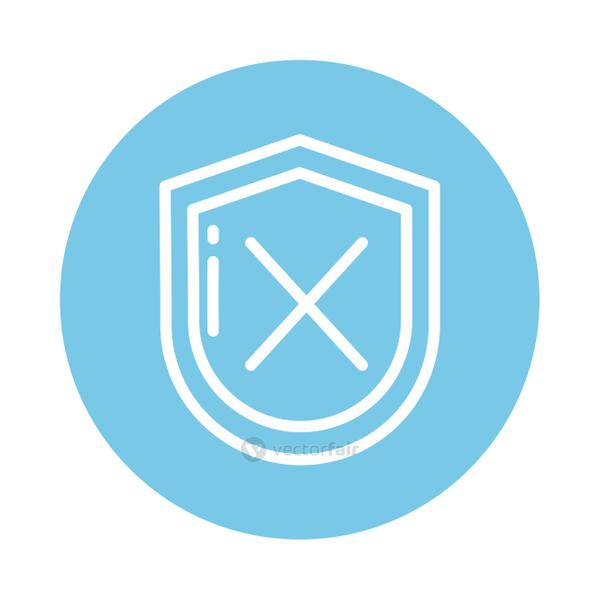 shield with x, block and flat style icon