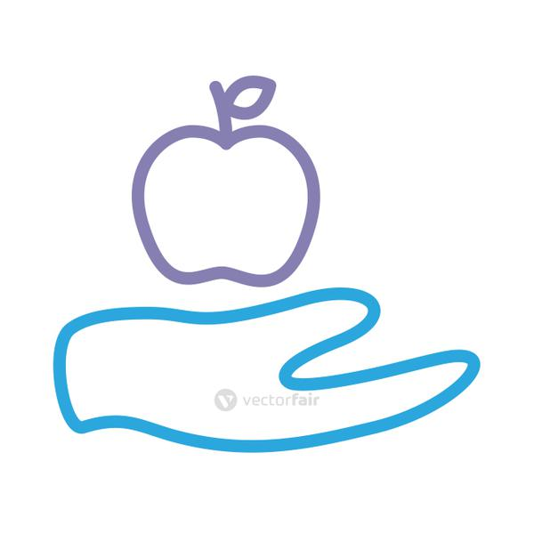 hand lifting apple solidarity line style