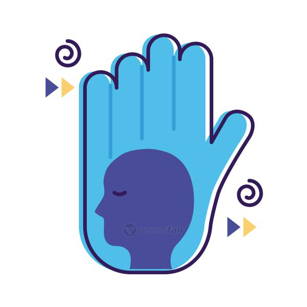 hand stop with profile mental health flat style icon