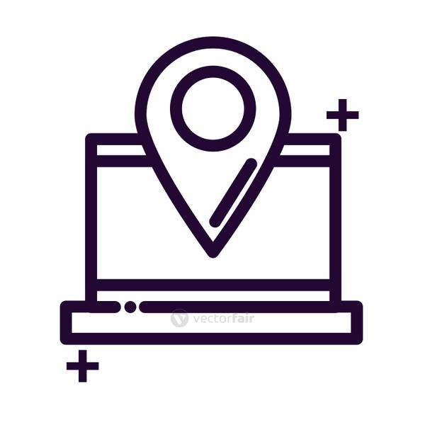 laptop with location tag line style icon