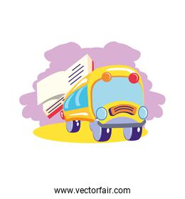 bus school transportation with textbook supply
