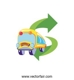 bus school transportation with arrows isolated icon