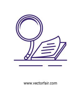 search magnifying glass with notebook